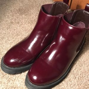 Maroon Faux Leather Chelsea Ankle Boots